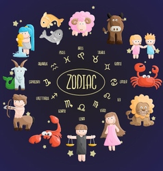 zodiac color sign symbol cartoon vector image