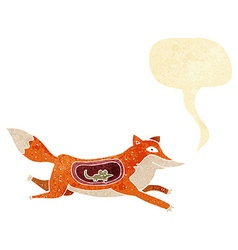 Cartoon fox with mouse in belly with speech bubble vector