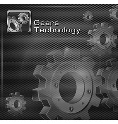 Gears on mesh text vector image