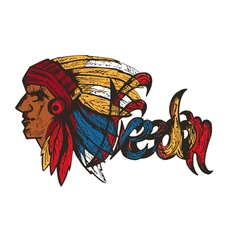 Hand drawn profile of native american chief vector image vector image
