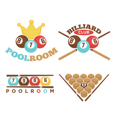 poolroom emblem set vector image