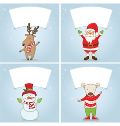 Set winter label with Christmas motifs vector image