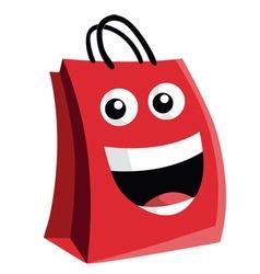 Shopping Bag Cartoon Character Design vector image vector image