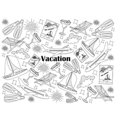 Vacation colorless set vector