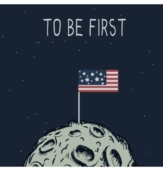 American flag standing on the moon vector image vector image