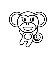 cartoon monkey animal outline vector image vector image