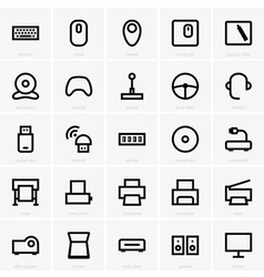 Computer peripheral icons vector image vector image