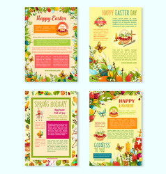 easter day spring holidays poster template set vector image vector image