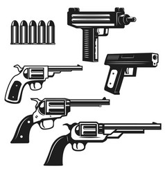 set of handguns and revolvers isolated on white vector image