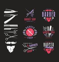 Set of vintage barber shop badges vector image vector image