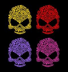 Skull flower petals Floral colorful skull vector image vector image