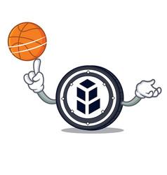 With basketball bancor coin character cartoon vector