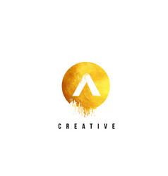a gold letter logo design with round circular vector image