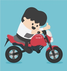 character businessman riding on a motorcycle vector image vector image