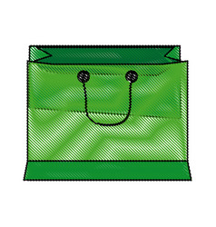 green paper shopping bag with handles vector image