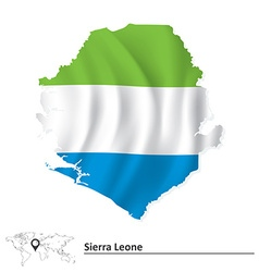 Map of Sierra Leone with flag vector image