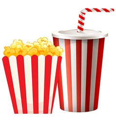 Popcorn in box and cup of drink vector image