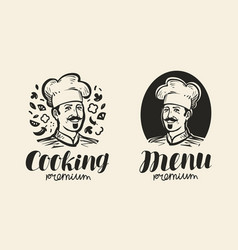 portrait of happy chef logo icon and label for vector image vector image