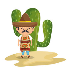 background cactus with man mexican vector image