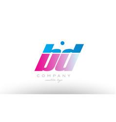 bd b d alphabet letter combination pink blue bold vector image vector image