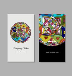 business card design ethnic mandala vector image vector image