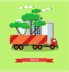delivery truck in flat vector image