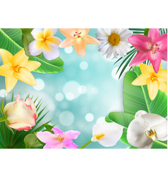 hello summer natural floral background vector image vector image