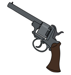 vintage six bullets revolver vector image vector image