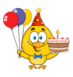 yellow chick holding balloons and a birthday cake vector image vector image