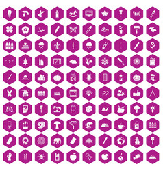 100 eco design icons hexagon violet vector