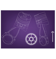 3d model of piston and gear vector image