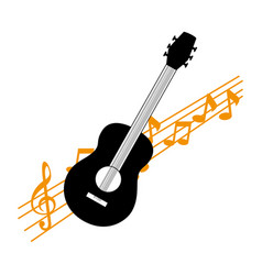 acoustic guitar with musical notes vector image
