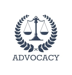 Advocacy icon justice scales laurel wreath vector