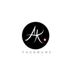 ak handwritten brush letter logo design with vector image