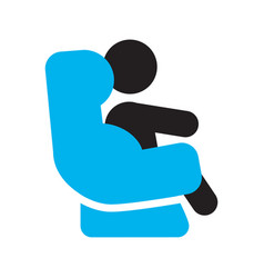 Baby sitting in car seat silhouette icon vector