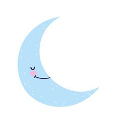 Bashower cute half moon cartoon vector