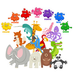 Basic colors for kids with animal characters group vector