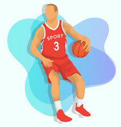basketball player with red jersey in red jersey vector image