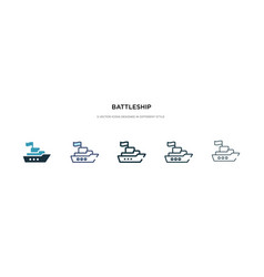 battleship icon in different style two colored vector image