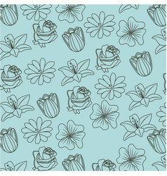beauty pattern flowers natural vector image