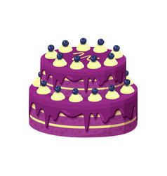 Big lilac pie with berries vector