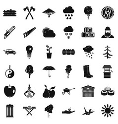 Big tree icons set simple style vector