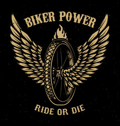 biker power wheel with wings vector image