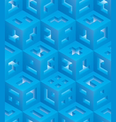 blue cubes isometric seamless pattern vector image