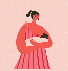 Breast feeding happy woman with baby vector