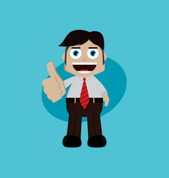 Businessman manager at work thumb up cartoon art vector