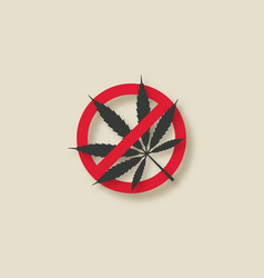 cannabis marijuana leaf stop sign vector image