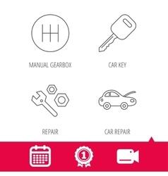 Car key repair tools and manual gearbox icons vector