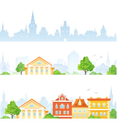 Cartoon town banners vector