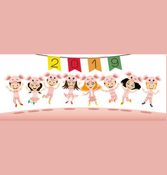 children in costume piglets jumping vector image